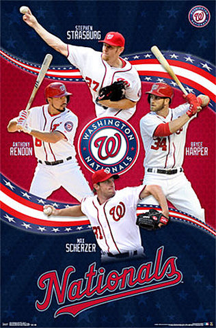 Washington Nationals Baseball Superstars Poster (Strasburg, Scherzer, Rendon, Harper) - Trends 2015