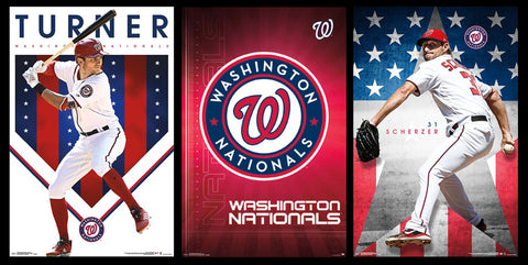 COMBO: Washington Nationals MLB Baseball 3-Poster Combo Set (Turner, Scherzer, Team Logo Theme Art)