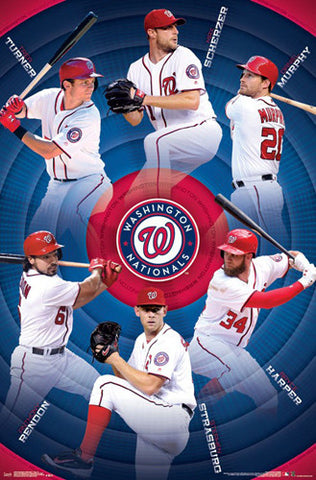 Washington Nationals Superstars 2017 POSTER (Turner, Scherzer, Murphy, Rendon, Strasburg, Harper)