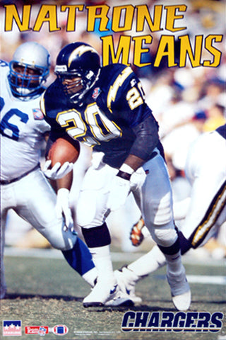"Natrone Means ""Roaring 20"" San Diego Chargers Poster - Starline 1995"