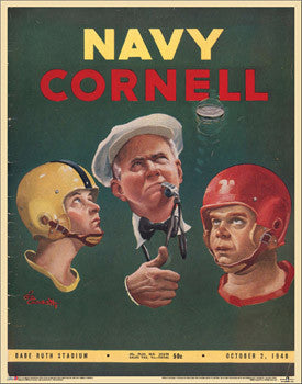 "Navy vs. Cornell Football ""Coin Flip"" 1948 Vintage Reprint Poster"
