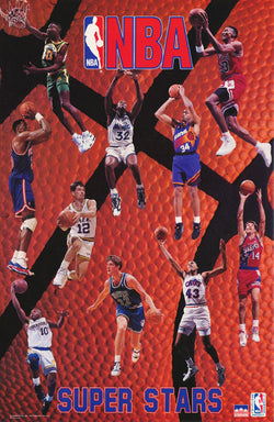 NBA Superstars 1993-94 Poster (Shaq, Ewing, Kemp, Pippen, Barkley, ++) - Starline Inc.
