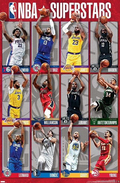 NBA Superstars 2021 Poster (12 Basketball Greats In Action) - Costacos Sports Inc.