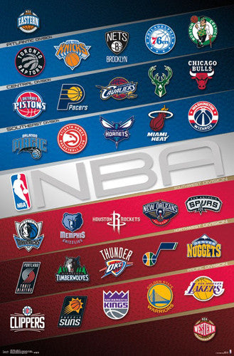 NBA Basketball Full Court Team Logos Poster (All 30 Teams) - Trends 2016-17