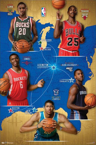 From Kentucky to the NBA 2012-13 Commemorative Poster (Davis, Jones, Lamb, Kidd-Gilchrist, Teague)
