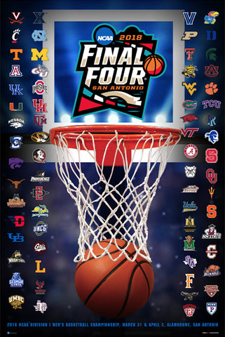 NCAA March Madness 2018 Men's Basketball Championships Official Poster (68-Team Field) - ProGraphs