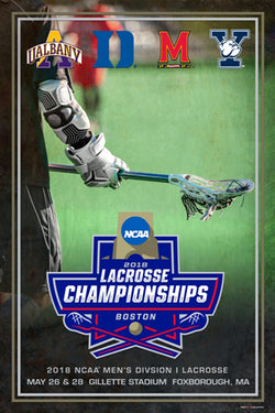 NCAA Lacrosse Championships 2018 Official Event Poster (Yale, Albany, Duke, Maryland) - ProGraphs Inc.
