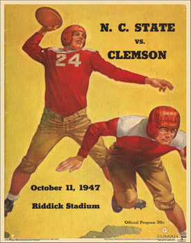 NC State Wolfpack vs. Clemson 1947 Vintage Program Cover Poster Print - Asgard Press