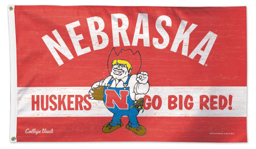 "University of Nebraska Cornhuskers ""Herbie Classic"" Retro 1970s-Style College Vault Collection NCAA Deluxe 3'x5' Flag"