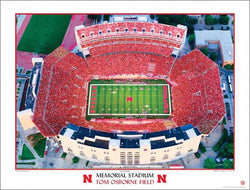 "Nebraska Huskers Football at Memorial Stadium ""Sea of Red"" Aerial View Poster Print"