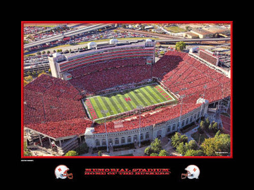 "Memorial Stadium ""Home of the Huskers"" Aerial View Poster Print - Rick Anderson 2010"