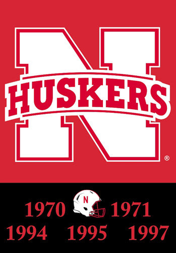 Nebraska Huskers 5-Time National Football Champions Commemorative Banner - BSI