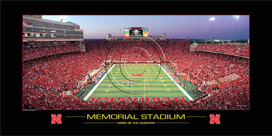 "Nebraska Huskers Football Memorial Stadium ""Home of the Huskers"" Premium Poster - Rick Anderson 2006"