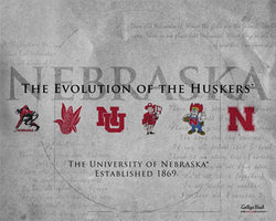 "Nebraska ""Evolution of the Huskers"" Historic Logos Poster Print - ProGraphs Inc."