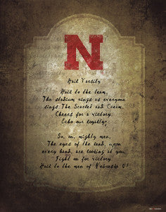 "Nebraska Huskers ""Hail Varsity"" Official Fight Song Poster Print - ProGraphs Inc."