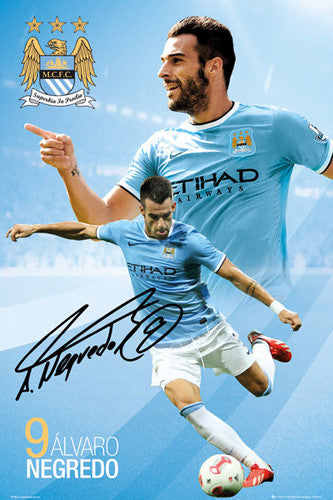 "Alvaro Negredo ""Signature"" Manchester City FC Soccer Action Poster - GB Eye (UK)"