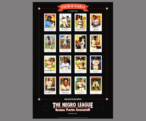 Legends of Negro League Baseball (16 Superstars) Premium Poster - American Vision Gallery