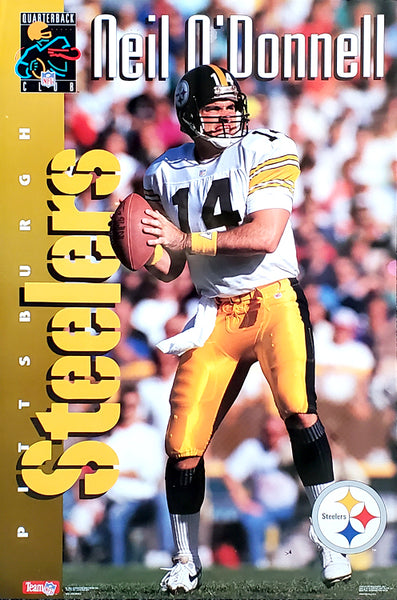 "Neil O'Donnell ""QB Superstar"" Pittsburgh Steelers NFL Action Poster - Costacos Brothers 1993"