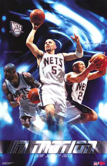 "New Jersey Nets ""In Motion"" (Kidd, K-Mart, Jefferson) Poster - Starline 2003"