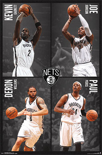"Brooklyn Nets ""Four Stars"" NBA Basketball Action Poster - Costacos 2014"