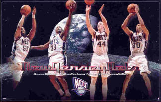 "New Jersey Nets ""All-World"" Poster (Van Horn, Kittles, Marbury, Williams) - Costacos 1999"