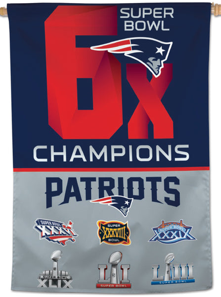 "New England Patriots SIX-TIME SUPER BOWL CHAMPIONS Official NFL 28"" x 40"" BANNER - Wincraft Inc."