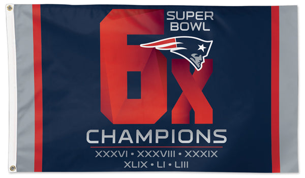 New England Patriots 6-TIME SUPER BOWL CHAMPS Premium Felt DELUXE 3'x5' FLAG - Wincraft