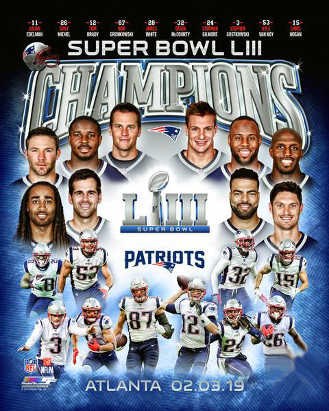 New England Patriots Super Bowl LIII (2019) Champions 10-Player Premium Poster Print - Photofile