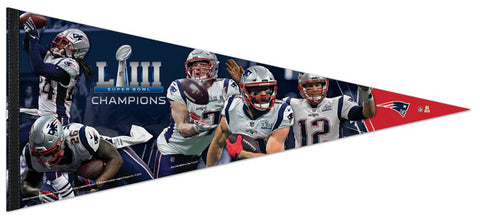 New England Patriots Super Bowl LIII MOMENTS Extra-Large Premium Felt Collector's PENNANT