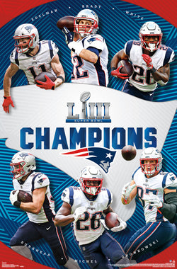 New England Patriots Super Bowl LIII CHAMPIONS 6-Player Commemorative Poster - Trends 2019