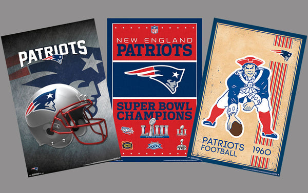 COMBO: New England Patriots NFL Football Team Logo Theme Art 3-Poster Combo Set