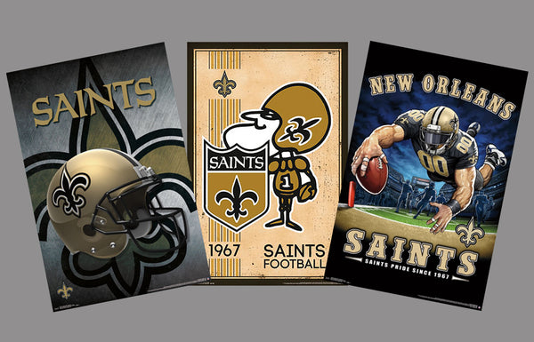 COMBO: New Orleans Saints NFL Football Logo Theme Art 3-Poster Combo