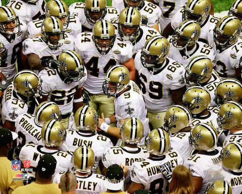 New Orleans Saints Drew Brees Pre-Game Huddle Premium NFL Poster Print - Photofile Inc.