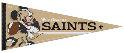 "New Orleans Saints ""Mickey Mouse QB Gunslinger"" Official NFL/Disney Premium Felt Pennant - Wincraft Inc."