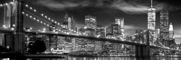 New York City at Night from Brooklyn HUGE Black-and-White Wall-Sized Poster - GB Eye