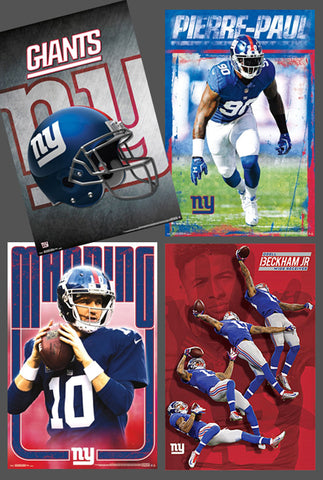 COMBO: New York Giants Football 4-Poster Combo Set (Manning, Beckham, Pierre-Paul, Helmet/Logo)