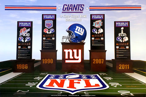 "New York Giants ""Four Podiums"" Super Bowl Championship History Poster - Action Images Inc."