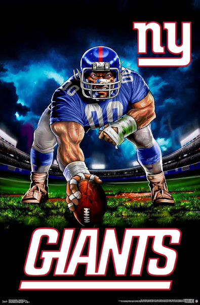 "New York Giants ""Hardcore Football"" NFL Theme Art Poster - Liquid Blue/Trends Int'l."