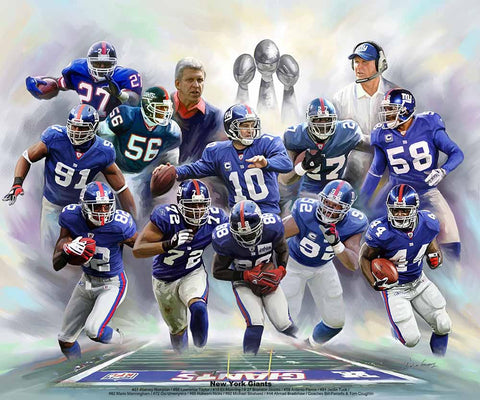 "New York Giants ""Legends"" NFL Football Art Collage Poster Print by Wishum Gregory"