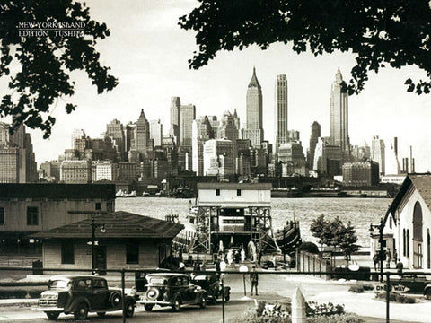 New York City Skyline from Governors Island c.1944 Classic Black & White Poster - Tushita Editions