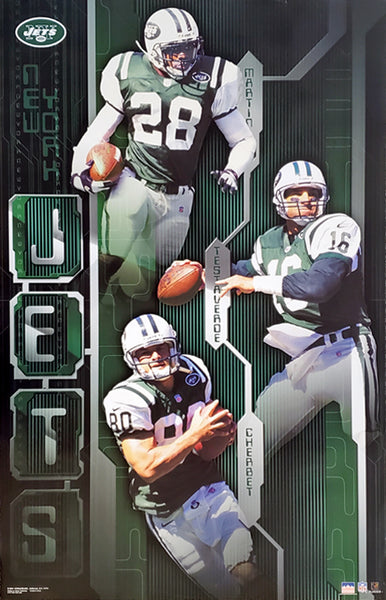 "New York Jets ""Three Stars"" Poster (Curtis Martin, Chrebet, Testaverde) - Starline 2001"