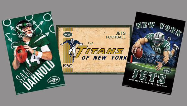 COMBO: New York Jets Football 3-Poster Combo Set (Sam Darnold, Titans-Style, Jets Pride)