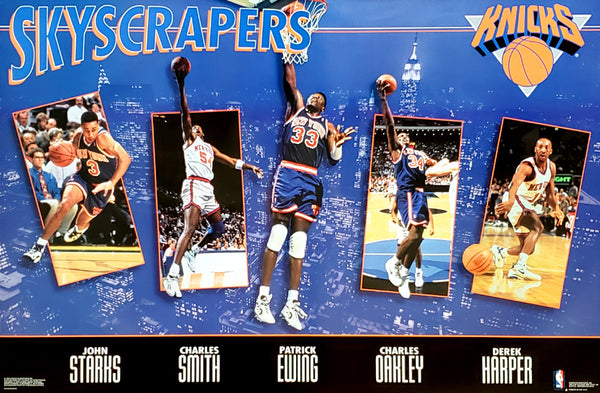 "New York Knicks ""Skyscrapers"" Poster (Ewing, Starks, Oakley, Harper, Smith) - Costacos 1994"