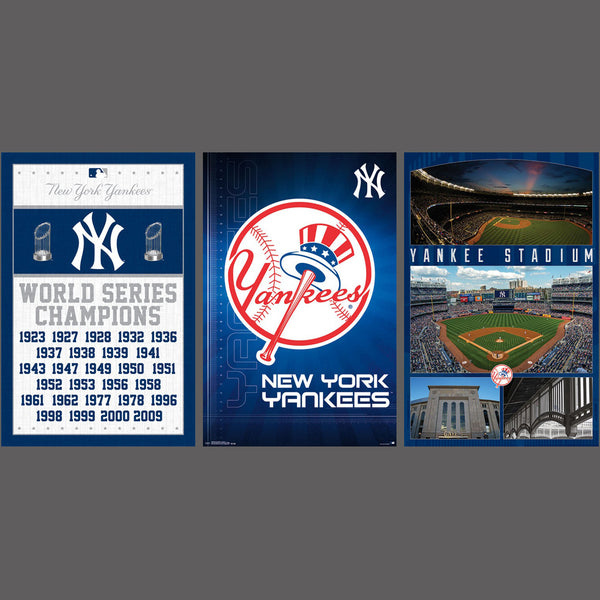COMBO: New York Yankees 3-Poster Combo Set (Logo, World Series Championships, Stadium Posters)