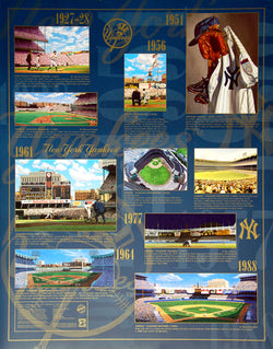 New York Yankees Historic Art Collage (1927-88) Premium Wall Poster - Bill Goff Inc.