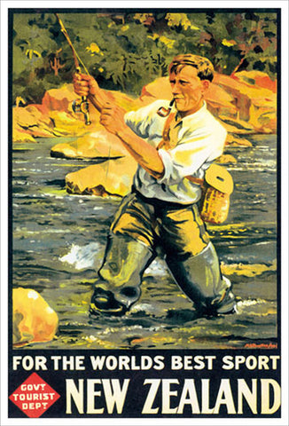 "New Zealand ""Fly Fishing Classic"" (1936) Vintage Poster Reprint - Eurographics"