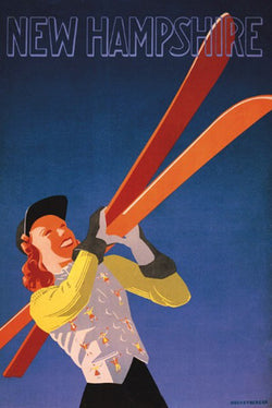 "New Hampshire ""Happy Skier"" (c.1941) by Lou Hechenberger Poster Reprint - McGaw"