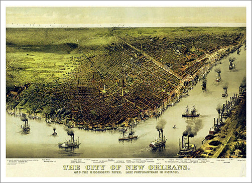New Orleans, Louisiana 1885 Classic Aerial Panorama Premium Poster Reproduction (Currier and Ives)