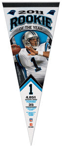 Cam Newton 2011 NFL Rookie of the Year Premium Felt Commemorative Pennant