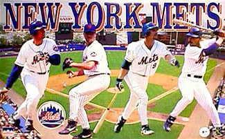 "New York Mets ""Gameday"" Poster (Olerud, Hudley, Baerga, Jones) - Starline Inc. 1997"